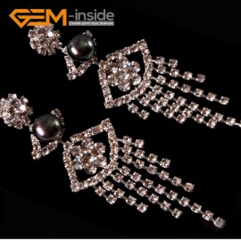G4567 black Fashion 8-9mm Freshwater Pearl Eye Gold Plated Rhinestone Dangle Stud Earrings  Ladies Earrings Fashion Jewelry Jewellery
