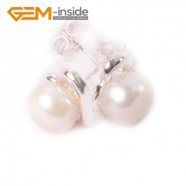 G4629 White Fashion Pretty 6-7mm Freshwater Pearl White Gold Plate Heart Frame Stud Earrings Ladies Earrings Fashion Jewelry Jewellery
