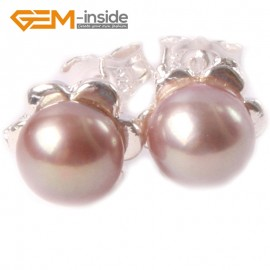 G4631 purple Fashion 6-7mm Freshwater Pearl White Gold Plate Flower Frame Stud Earrings Ladies Earrings Fashion Jewelry Jewellery