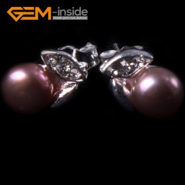G4634 purple Fashion Pretty 6-7mm Freshwater Pearl White Gold Plated Leaf Frame Stud Earrings Ladies Earrings Fashion Jewelry Jewellery