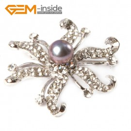 "G4658 black 9-10mm nice freshwater pearl with white gold plated starfish shape brooch 48"" Brooch Pin Fashion Jewelry Jewellery"