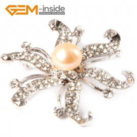"G4659 pink 9-10mm nice freshwater pearl with white gold plated starfish shape brooch 48"" Brooch Pin Fashion Jewelry Jewellery"