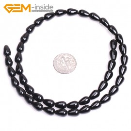 """G4686 6x10mm Free Shipping Drop Black Agate Gemstone Jewelry Making Loose Beads Strands 15"""" Natural Stone Beads for Jewelry Making Wholesale`"""