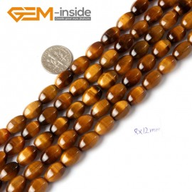 """G4703 8x12mm (Faceted) Olivary Gemstone Yellow Tiger Eye Jewelry Making Beads Strand 15"""" Natural Stone Beads for Jewelry Making Wholesale"""
