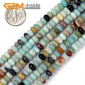 "G4815 4x6mm Smooth Rondelle Mixed Amazonite Jewelry Making Gemstone Beads 15"" Natural Stone Beads for Jewelry Making Wholesale"