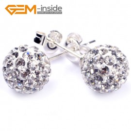 G4836 8mm White Pave Shining Crystal Ball Silver Plated Stud Earrings Fashion Jewelry  Ladies Earrings Fashion Jewelry Jewellery