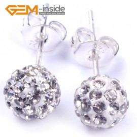 G4837 6mm White Pave Shining Crystal Ball Silver Plated Stud Earrings Fashion Jewelry  Ladies Earrings Fashion Jewelry Jewellery