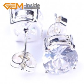 G4839 white 8mm shining fashion Clear white  CZ crystal silver plated stud earring  Ladies Earrings Fashion Jewelry Jewellery