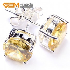 G4840 yellow 8mm shining fashion Clear white  CZ crystal silver plated stud earring  Ladies Earrings Fashion Jewelry Jewellery