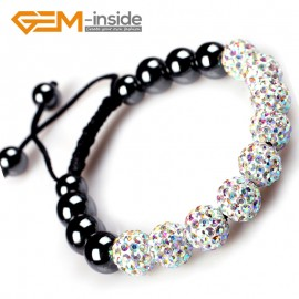 "G4866 AB white 10mm Shining Pave CZ Crystal Ball Hematite Beads Bracelet Adjustable 6-8"" Fashion Jewelry Jewellery Bracelets  for women"
