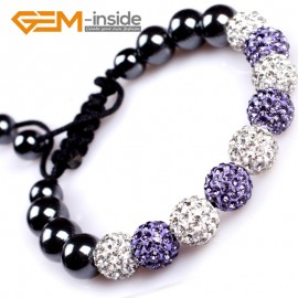 "G4895 golden and white 10mm Fashion Bracelet Beads With Crystal Ball Beads Adjustable Size 6""-8"" Fashion Jewelry Jewellery Bracelets  for women"