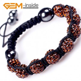 "G4879 coffee color 10mm Fashion Bracelet Beads With Crystal Ball Beads Adjustable Size 6""-8"" Fashion Jewelry Jewellery Bracelets  for women"