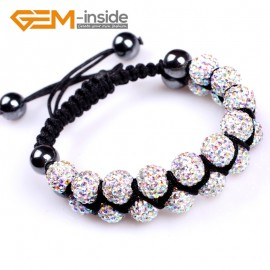 "G4923 AB white 10mm Pave Shining Crystal Ball 20 Beads Bracelet Adjustable size 6""-8"" Fashion Jewelry Jewellery Bracelets  for women"