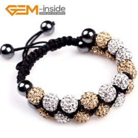 "G4927 white and golden 10mm Pave Shining Crystal Ball 20 Beads Bracelet Adjustable size 6""-8"" Fashion Jewelry Jewellery Bracelets  for women"