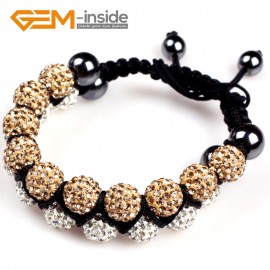 "G4944 white and golden 10mm Pave Shining Crystal Ball 20 Beads Bracelet Adjustable size 6""-8"" Fashion Jewelry Jewellery Bracelets  for women"