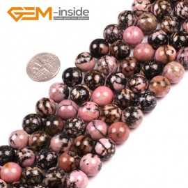 """G5158 10mm Natural Round Black Rhodonite Beads Jewelery Making Gemstone Loose Beads 15""""Natural Stone Beads for Jewelry Making Wholesale"""