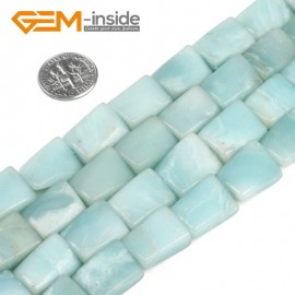 "G5173 12x15mm(twisted) Natural Rectangle Amazonite Beads 15"" Jewelry Making Gemstone  Loose Beads Natural Stone Beads for Jewelry Making Wholesale"