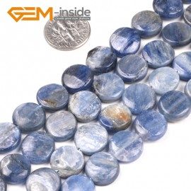 "G5184 12mm Natural Coin Blue Kyanite Beads Jewelry Making Gemstone Loose Beads Strand  15"" Natural Stone Beads for Jewelry Making Wholesale`"