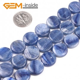 "G5185 14mm Natural Coin Blue Kyanite Beads Jewelry Making Gemstone Loose Beads Strand  15"" Natural Stone Beads for Jewelry Making Wholesale`"