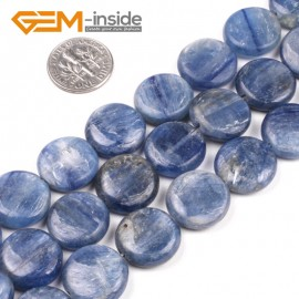 "G5186 16mm Natural Coin Blue Kyanite Beads Jewelry Making Gemstone Loose Beads Strand  15"" Natural Stone Beads for Jewelry Making Wholesale`"