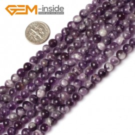 "G5200 6mm Natural Round Dream Lace Amethyst Beads Strand 15""Jewelry Making Gemstone Beads Natural Stone Beads for Jewelry Making Wholesale`"
