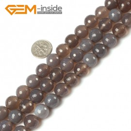 """G5405 12mm Round Faceted Natural Gray Agate Gemstone Loose Beads Strands 15"""" 10-14mm Pick Natural Stone Beads for Jewelry Making Wholesale"""