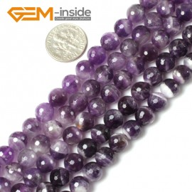 "G5423 8mm Round Faceted Gemstone Dream Lace Aamethyst Jewelry Making Beads Strand 15"" Natural Stone Beads for Jewelry Making Wholesale"