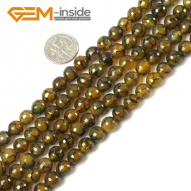 """G5425 8mm Round Faceted Gemstone Yellow Crackled Agate Beads Strands 15"""" Jewelry Making Natural Stone Beads for Jewelry Making Wholesale"""