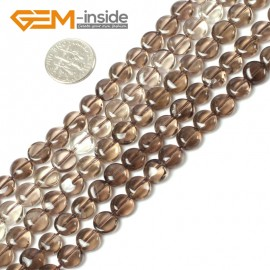 """G5441 8mm (Light)  Natural Coin  Smoky Quartz Beads Strand 15""""Jewelry Making Gemstone Beads Natural Stone Beads for Jewelry Making Wholesale"""