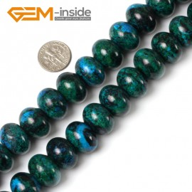 "G5470 13x18mm Roundel/Rondelle Gemstone Chrysocolla Jewelry Making Stone Beads Strand 15"" Natural Stone Beads for Jewelry Making Wholesale"
