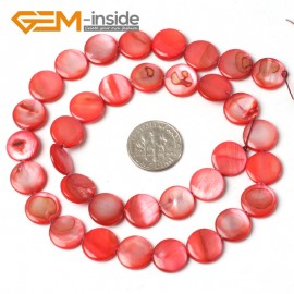 "G5478 red/11mm Coin Gemstone Sea Shell Jewelery Making Loose Beads Strand 15"" Pick Colors &Size Natural Stone Beads for Jewelry Making Wholesale"