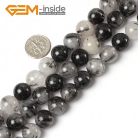 G5493 12mm Round Gemstone Black Rutilated Quartz Beads Jewelry Making Loose Beads Strand 15 Natural Stone Beads for Jewelry Making Wholesale