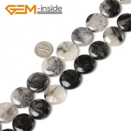 "G5496 20mm Coin Gemstone Black Rutilated Quartz Beads Strand 15""Jewelry Making Loose Beads Natural Stone Beads for Jewelry Making Wholesale"