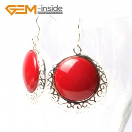 G5503 Red stone cute 34mm coin beads carved low silver dangle earrings Fashion Jewelry for women Ladies Birthstone Earrings Fashion Jewelry Jewellery