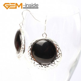 G5505 Black agate cute 34mm coin beads carved low silver dangle earrings Fashion Jewelry for women Ladies Birthstone Earrings Fashion Jewelry Jewellery