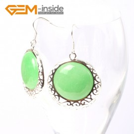 G5506 Green aventurine cute 34mm coin beads carved low silver dangle earrings Fashion Jewelry for women Ladies Birthstone Earrings Fashion Jewelry Jewellery