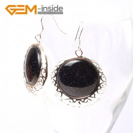 G5507 Blue goldstone cute 34mm coin beads carved low silver dangle earrings Fashion Jewelry for women Ladies Birthstone Earrings Fashion Jewelry Jewellery