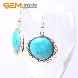 G5508 Blue turquoise cute 34mm coin beads carved low silver dangle earrings Fashion Jewelry for women Ladies Birthstone Earrings Fashion Jewelry Jewellery