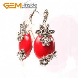 G5510 Red stone 16x32mm oval carved tibetan silver dangle earrings fashion jewelery for women Ladies Birthstone Earrings Fashion Jewelry Jewellery