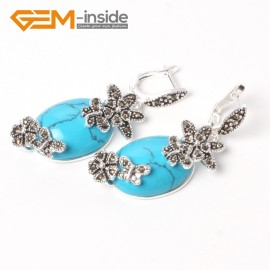 G5515 Blue turquoise 16x32mm oval carved tibetan silver dangle earrings fashion jewelery for women Ladies Birthstone Earrings Fashion Jewelry Jewellery