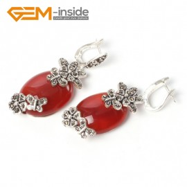 G5516 Red jade 16x32mm oval carved tibetan silver dangle earrings fashion jewelery for women Ladies Birthstone Earrings Fashion Jewelry Jewellery