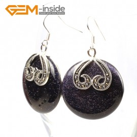 G5519 Blue goldstone cute 29mm coin beads tibetan silver dangle earrings fashion jewelery for women Ladies Birthstone Earrings Fashion Jewelry Jewellery
