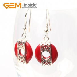 G5523 Red stone 16mm coin ring beads carved low silver dangle earrings fashion jewelery for girl Ladies Birthstone Earrings Fashion Jewelry Jewellery