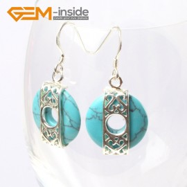 G5526 Blue turquoise 16mm coin ring beads carved low silver dangle earrings fashion jewelery for girl Ladies Birthstone Earrings Fashion Jewelry Jewellery