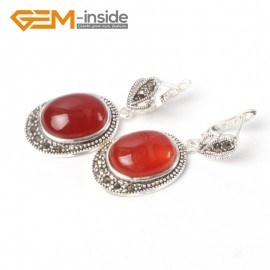 G5527 Red jade new 16x20mm oval beads carved tibetan silver dangle earrings fashion jewelery Ladies Birthstone Earrings Fashion Jewelry Jewellery