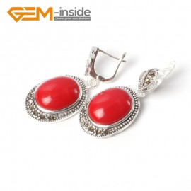 G5528 Red stone new 16x20mm oval beads carved tibetan silver dangle earrings fashion jewelery Ladies Birthstone Earrings Fashion Jewelry Jewellery