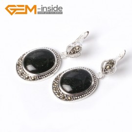 G5533 Blue goldstone new 16x20mm oval beads carved tibetan silver dangle earrings fashion jewelery Ladies Birthstone Earrings Fashion Jewelry Jewellery