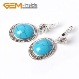G5534 Blue turquoise new 16x20mm oval beads carved tibetan silver dangle earrings fashion jewelery Ladies Birthstone Earrings Fashion Jewelry Jewellery