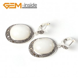 G5536 White jade new 16x20mm oval beads carved tibetan silver dangle earrings fashion jewelery Ladies Birthstone Earrings Fashion Jewelry Jewellery