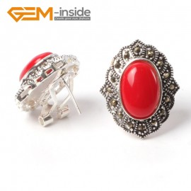 G5540 Red stone NEW 15x20mm oval beads tibetan silver stud earrings fashion Jewelry for women Ladies Birthstone Earrings Fashion Jewelry Jewellery